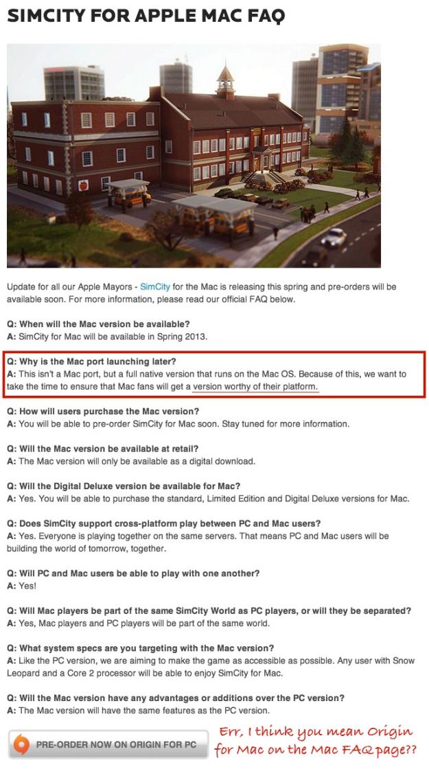 SimCity Mac FAQ