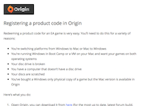 Registering a product code in Origin