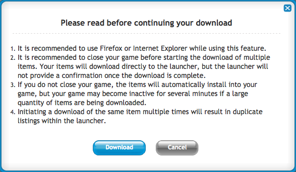 Pop up download