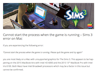 Cannot start the process when the game is running – Sims 3 error on Mac | Bluebellflora (20160822)