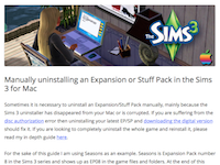 Manually uninstalling an Expansion or Stuff Pack in the Sims 3 for Mac