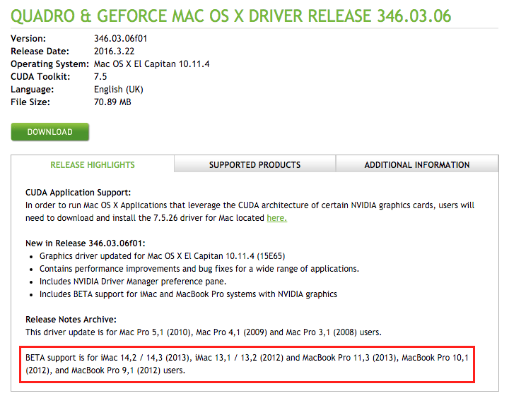 Updating graphics driver mac