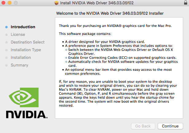 Manually update NVIDIA GeForce graphics drivers in macOS