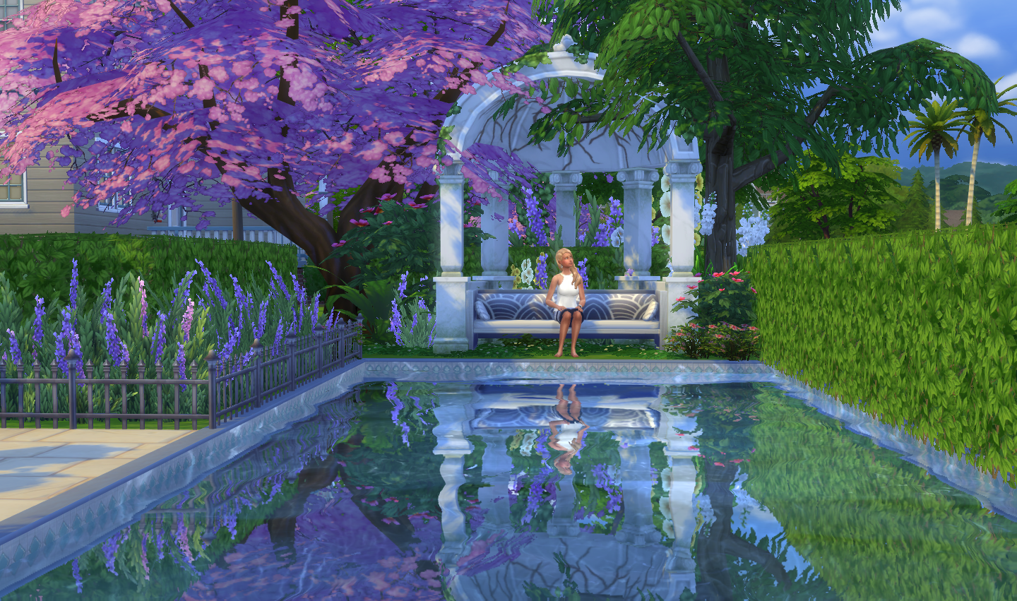 Sims 4 dine out gardens lighting and cas oh and for Baby garden pool